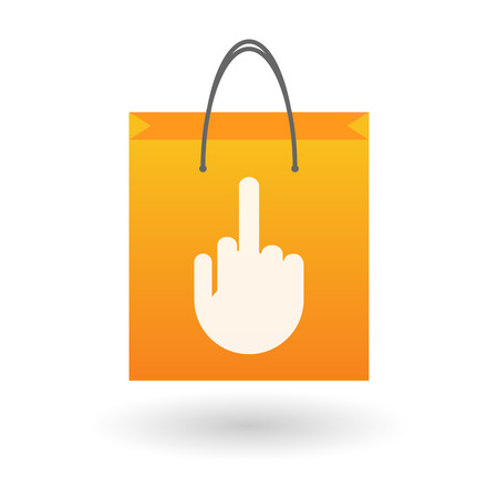 offensive: Illustration of an isolated shopping bag with a hand