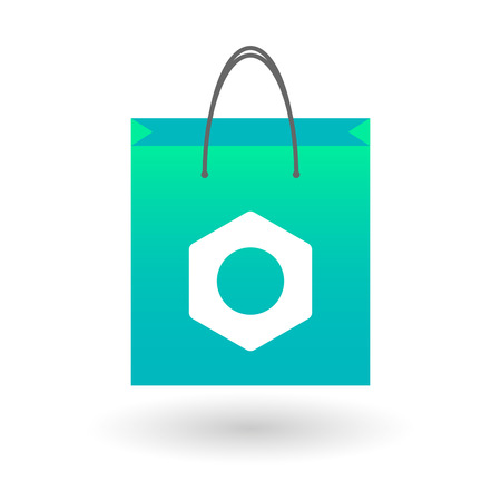 Illustration of an isolated shopping bag with a nut Vector