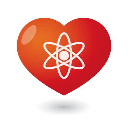 Illustration of an isolated heart with an atom Vector
