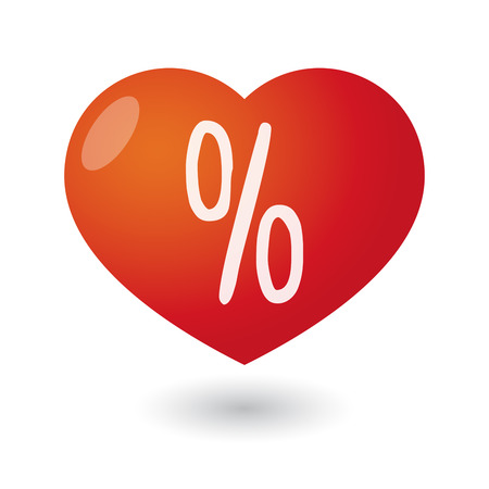 percentage sign: Illustration of an isolated heart with a percentage sign