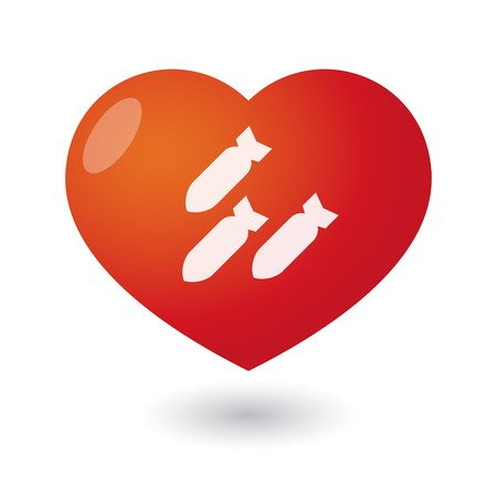love detonate: Illustration of an isolated heart with bombs Illustration