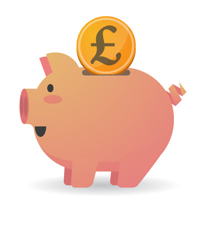 Illustration of an isolated piggy bank with a currency sign Ilustrace