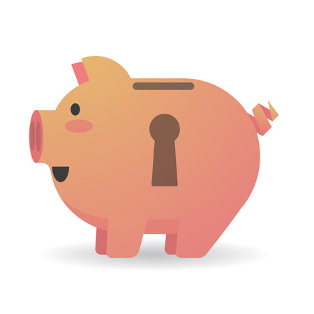 Illustration of an isolated piggy bank with a keyhole Vector
