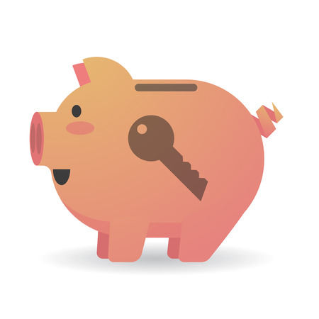 Illustration of an isolated piggy bank with a key Vector