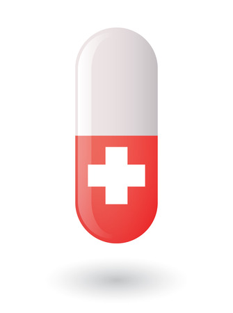 swiss flag: Illustration of an isolated pill with a swiss flag
