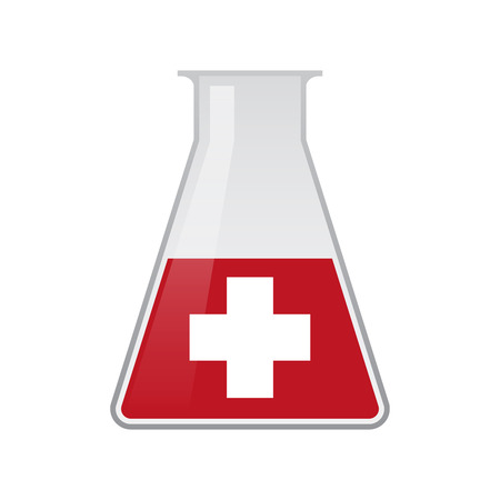 swiss flag: Illustration of a chemical test tube with the swiss flag