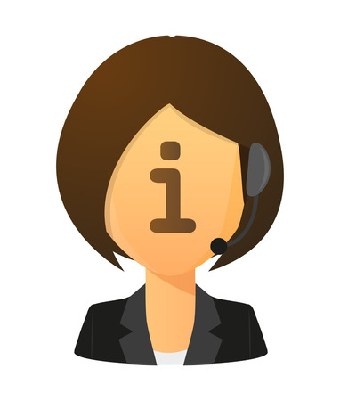 call centre girl: Illustration of an isolated female customer service worker