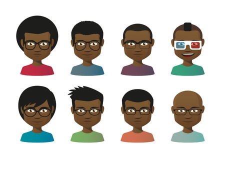 set of men hair styling: Illustration of an isolated cartoon  male avatar set