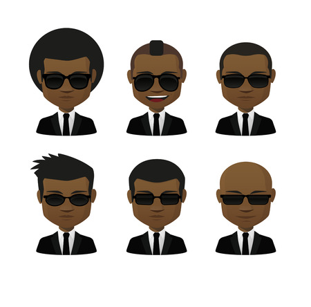 african business: Illustration of an isolated cartoon  male with sunglasses avatar set