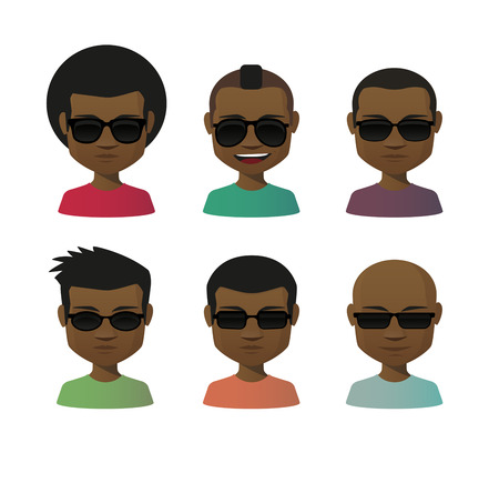 set of men hair styling: Illustration of an isolated cartoon  male with sunglasses avatar set