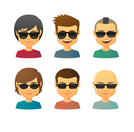 haircare: Illustration of an isolated cartoon  male with sunglasses avatar set