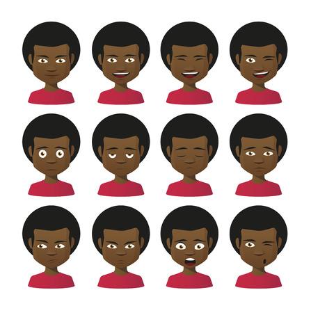 face expressions: Ilustraci�n de un conjunto aislado de expresiones de la cara Vectores