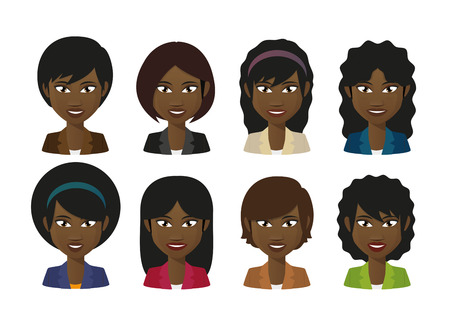 Illustration of an isolated female avatars  wearing suit Vector