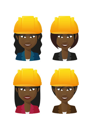 Illustration of an isolated female workers wearing a helmet Vector