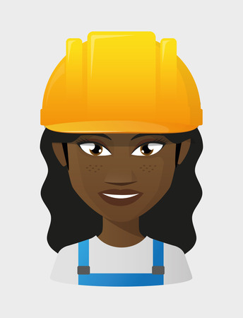 Illustration of an isolated female worker wearing a helmet Vector