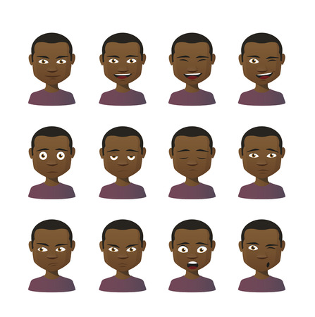 Illustration of an isolated set of face expressions