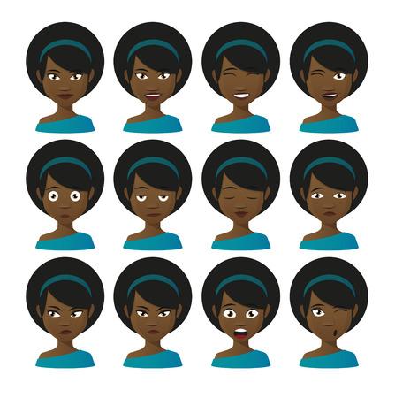 Illlustration eines weiblichen Cartoon avatar Ausdruck Satz Vektorgrafik