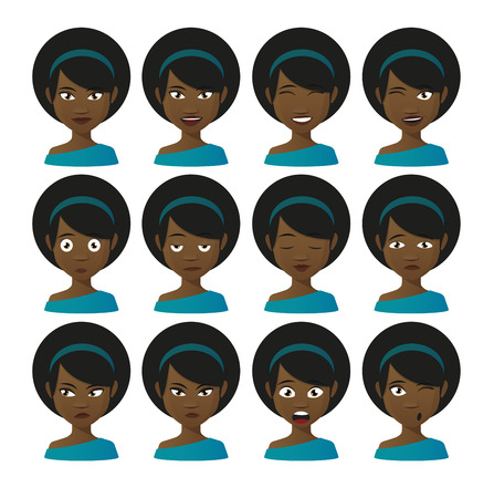 Illlustration of a female cartoon avatar expression set Ilustração
