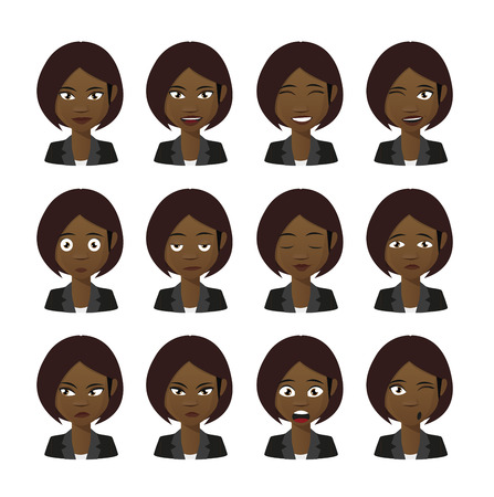 Illlustration of a female cartoon avatar expression set Vector