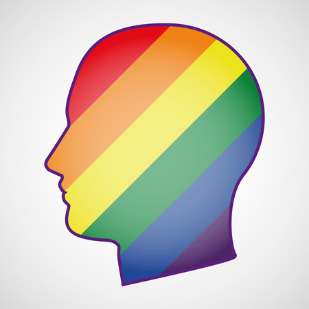 derechos humanos: Ilustraci�n de una cabeza aislada con una bandera del orgullo gay