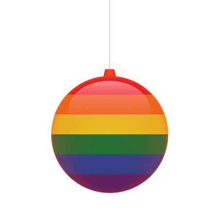 sexual orientation: Illustration of an isolated   chritmas ball with a gay pride flag Illustration