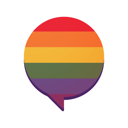 sexual orientation: Illustration of an isolated comic balloon  with a gay pride flag
