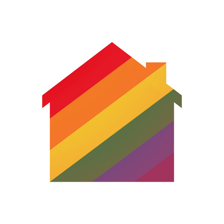 Illustration of an isolated house  with a gay pride flag