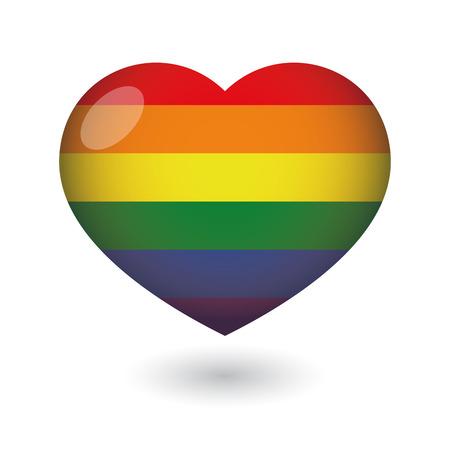 Illustratie van een geïsoleerde hart met een gay pride vlag