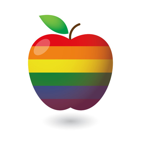 Illustration of an isolated fruit  with a gay pride flag Çizim