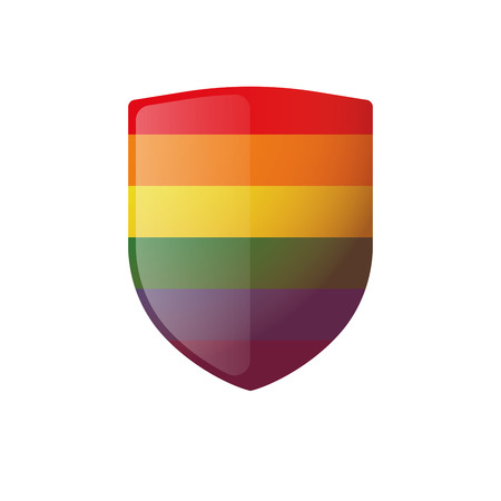 homosexuality: Illustration of an isolated shield   with a gay pride flag Illustration
