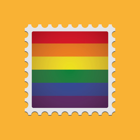 homosexuality: Illustration of an isolated mail stamp  with a gay pride flag