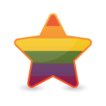 Illustration of an isolated star  with a gay pride flag Vector