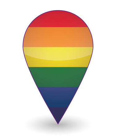 Illustration of an isolated map mark  with a gay pride flag
