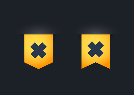 harmful to the environment: Illustration of a ribbon icon set with an irritating substance sign
