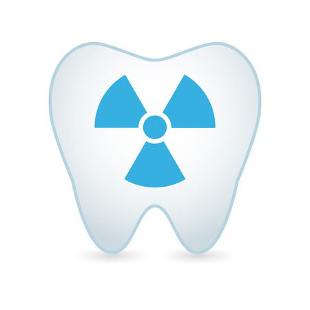 radiological: Illustrationof an isolated tooth icon with a radioactive sign