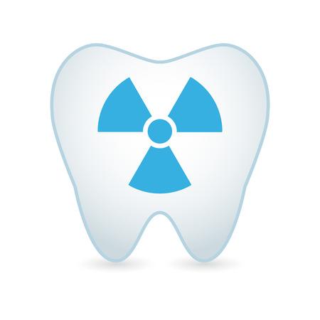 Illustrationof een geïsoleerde tand pictogram met een radioactieve teken Vector Illustratie