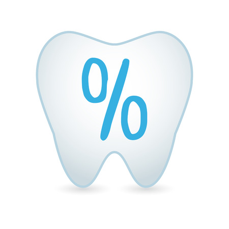 percentage sign: Illustrationof an isolated tooth icon with a percentage sign