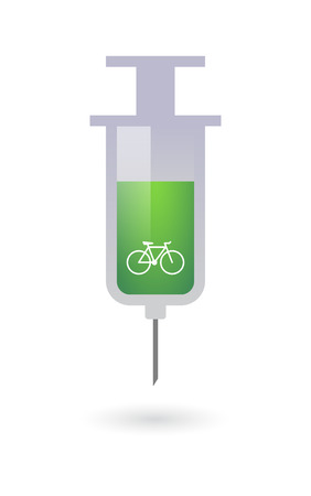 Illustration of an osolated syringe with a bicycle Vector