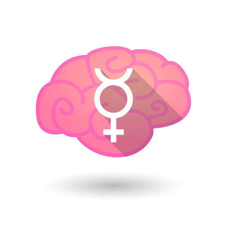 sex discrimination: Illustration of an isolated brain with a transgender sign