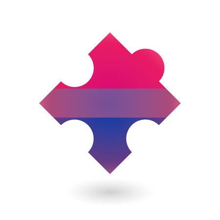 challenging sex: Isolated puzzle piece with a bisexual pride flag