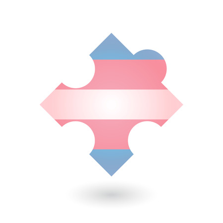 challenging sex: Isolated puzzle piece with a transgender pride flag