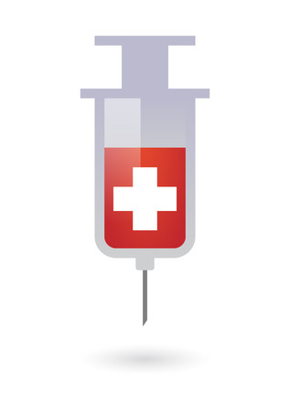 swiss flag: Illustration of an isolated syringe with a swiss flag