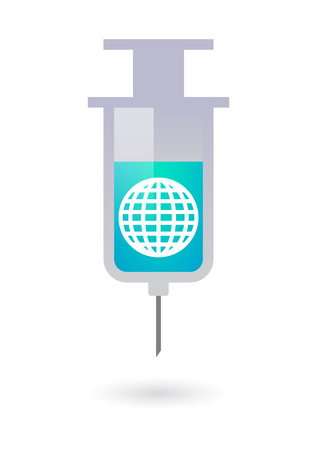 Illustration of an isolated syringe with a world globe Vector