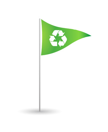 Illustration of an isolated flag with a recycle sign Vector