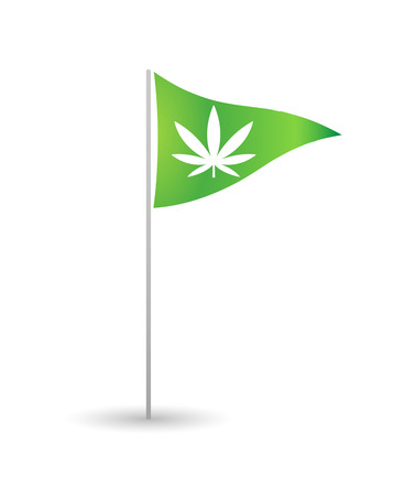 legalize: Illustration of an isolated flag with a marijuana leaf