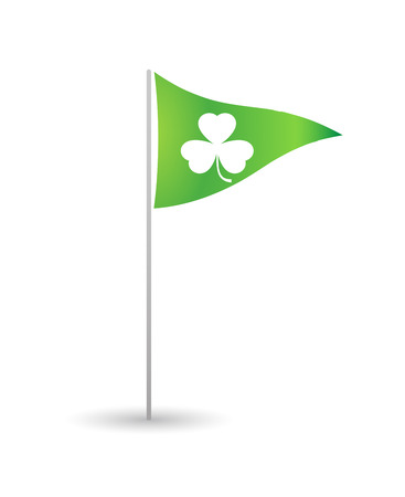 Illustration of an isolated flag with a clover Çizim