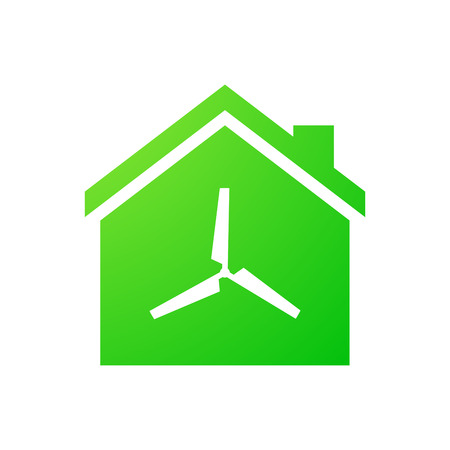 Illustration of an isolated house icon with a propeller