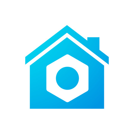 Illustration of an isolated house icon with a nut