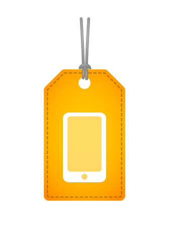 Illustration of an isolated label icon with a smartphone Vector