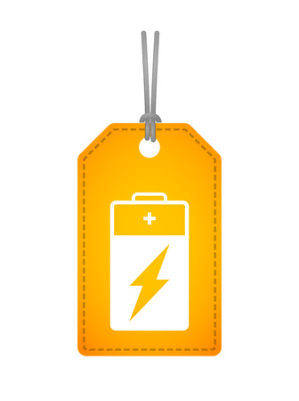 Illustration of an isolated label icon with a battery Vector